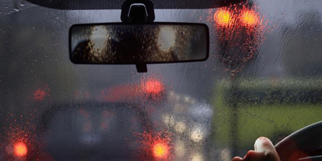 rearview mirror in rain